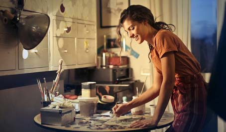 woman painting hobby